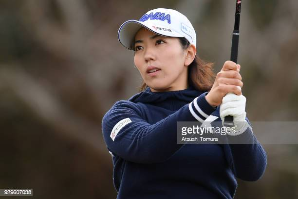 Ritsuko Ryu of Japan hits her tee shot on the 3rd hole during the first round of the Tokohama Tire PRGR Ladies Cup at Tosa Country Club on March 9...