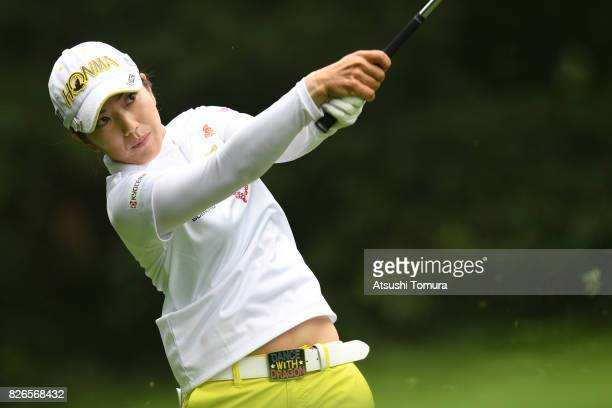 Ritsuko Ryu of Japan hits her tee shot on the 5th hole during the second round of the meiji Cup 2017 at the Sapporo Kokusai Country Club Shimamatsu...