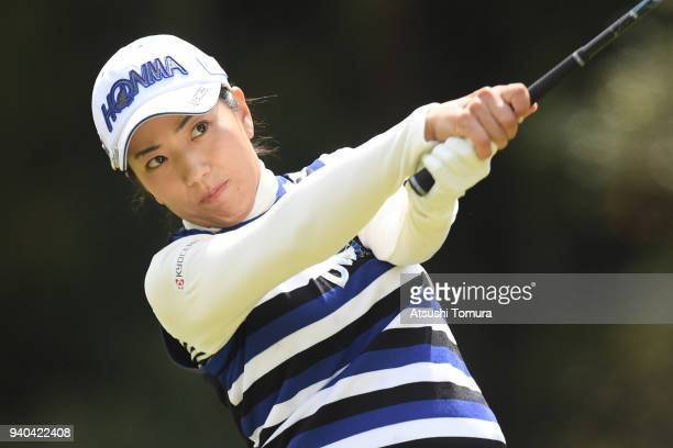Ritsuko Ryu of Japan hits her tee shot on the 5th hole during the third round of the Yamaha Ladies Open at Katsuragi Golf Club Yamana Course on March...