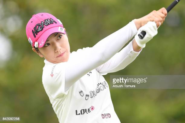 Ritsuko Ryu of Japan hits her tee shot on the 9th hole during the final round of the Golf 5 Ladies Tournament 2017 at the Golf 5 Country Oak Village...