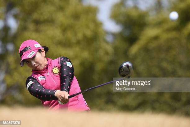 Ritsuko Ryu of Japan hits her tee shot on the second hole during the first round of the YAMAHA Ladies Open Katsuragi at the Katsuragi Golf Club...