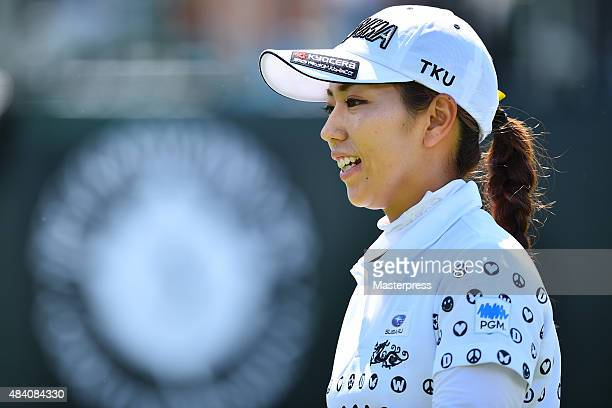 Ritsuko Ryu of Japan looks on during the second round of the NEC Karuizawa 72 Golf Tournament 2015 at the Karuizawa 72 Golf North Course on August 15...