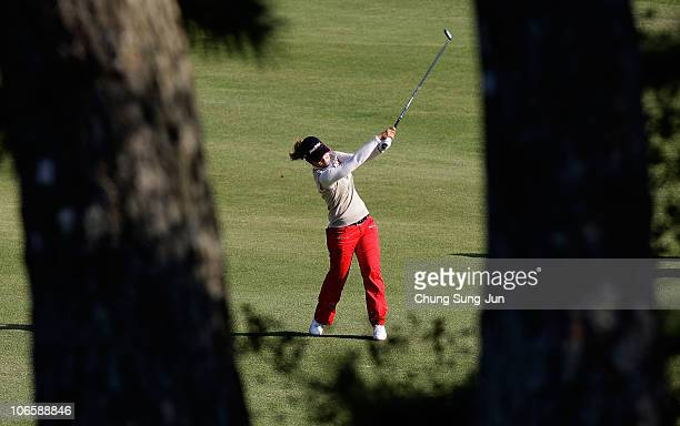 Ritsuko Ryu of Japan plays a shot on the 16th hole during round two of the Mizuno Classic at Kintetsu Kashikojima Country Club on November 6 2010 in...