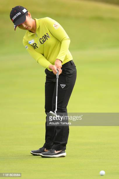 Ritsuko Ryu of Japan putts on the 3rd hole during first round of Fujitsu Ladies at Tokyu Seven Hundred Club on October 18 2019 in Chiba Japan