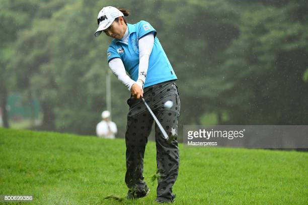 Ritsuko Ryu of Japan shots during the final round of the Earth Mondamin Cup at the Camellia Hills Country Club on June 25 2017 in Sodegaura Japan