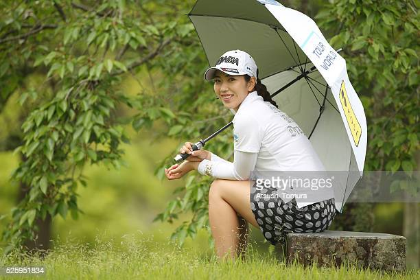 Ritsuko Ryu of Japan smiles during the first round of the CyberAgent Ladies Golf Tournament at the Grand Fields Country Club on April 29 2016 in...