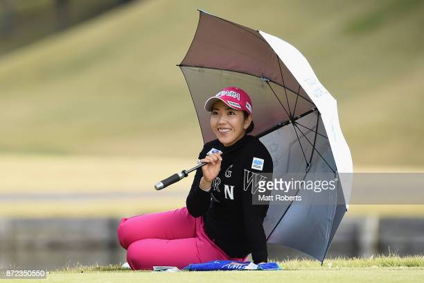 Ritsuko Ryu of Japan smiles during the first round of the Itoen Ladies Golf Tournament 2017 at the Great Island Club on November 10 2017 in Chonan...