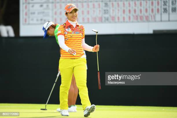 Ritsuko Ryu of Japan smiles during the third round of the Earth Mondamin Cup at the Camellia Hills Country Club on June 24 2017 in Sodegaura Japan