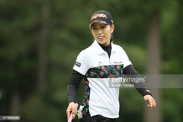 Ritsuko Ryu of Japan smiles during the third round of the Nichirei Ladies at the Sodegaura Country Club Shinsode Course on June 21 2015 in Chiba Japan