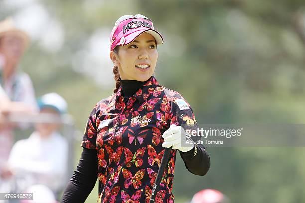 Ritsuko Ryu of Japan smiles during the third round of the Suntory Ladies Open at the Rokko Kokusai Golf Club on June 13 2015 in Kobe Japan