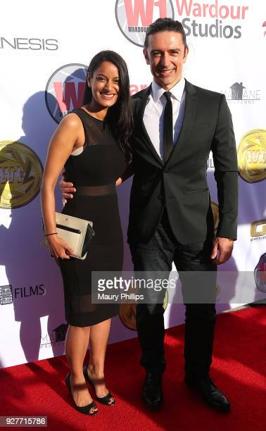Ritu Lal and Adam Croasdell attend Hollywood Stars Gala Academy Awards Viewing Party at Waldorf Astoria Beverly Hills on March 4 2018 in Beverly...