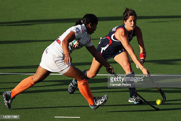 Ritu Rani of India competes with Katie Reinprecht of the USA during the Four Nations match between India and the United States of America at North...
