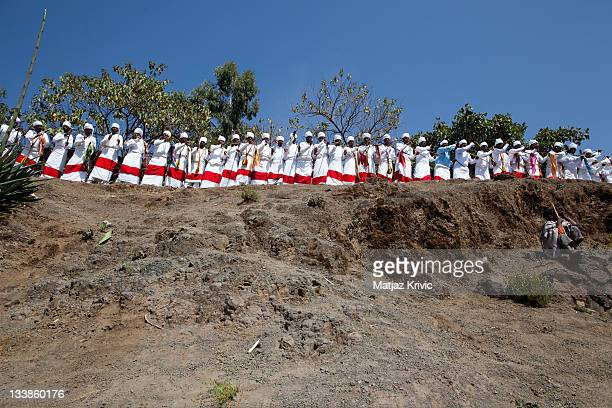 Ritual dancing and singing during a Timkat festival in Lalibela January 19 2011 in Lalibela Ethiopia