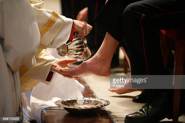 Ritual Foot Washing During Easter Thursday Mass