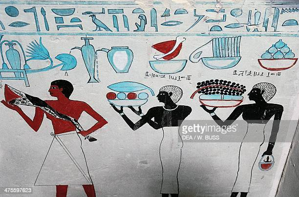 Ritual formulas scenes of offering detail from A'shit's sarcophagus Egyptian civilisation Middle Kingdom Dynasty XI Cairo Egyptian Museum
