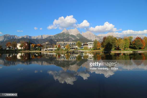 ritzensee panorama - saalfelden stock pictures, royalty-free photos & images