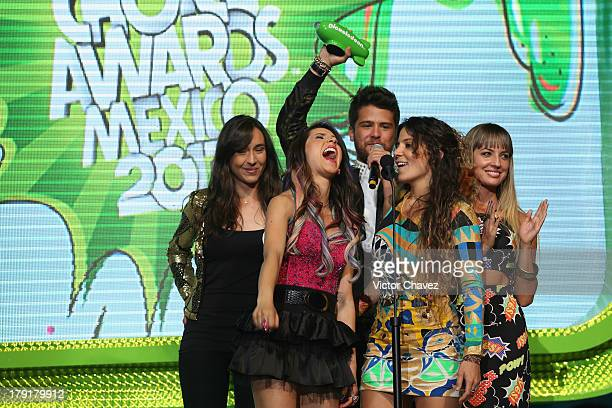 Riva Duina del Mar Riva Andres Mercado and Gaby de K speak onstage during the Kids Choice Awards Mexico 2013 at Pepsi Center WTC on August 31 2013 in...