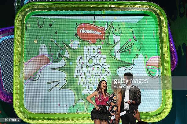 Riva Gaby de K and Andres Mercado speak onstage during the Kids Choice Awards Mexico 2013 at Pepsi Center WTC on August 31 2013 in Mexico City Mexico