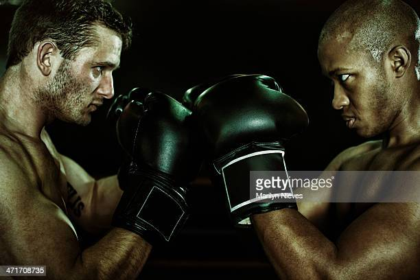 rival boxers faceoff - boxing stock pictures, royalty-free photos & images