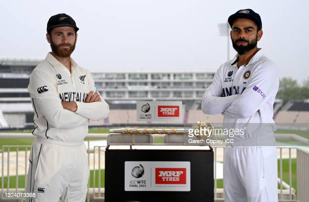 Rival captains Kane Williamson of New Zealand and Virat Kohli of India pose with the ICC ICC World Test Championship mace ahead of tomorrow's final...