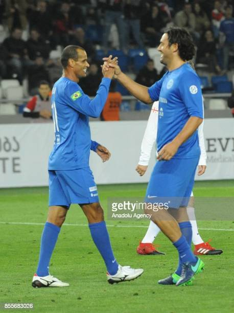 Rivaldo and Luca Toni of WORLD XI of WORLD XI in action during the World Stars for Georgia Charity Match between GFF XI and WORLD XI in Tbilisi...