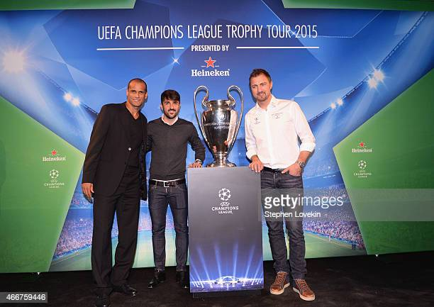 Rivaldo David Villa and Jerzy Dudek attend the VIP launch party for the UEFA Champions League Trophy Tour Presented by Heineken at Skylight Modern on...