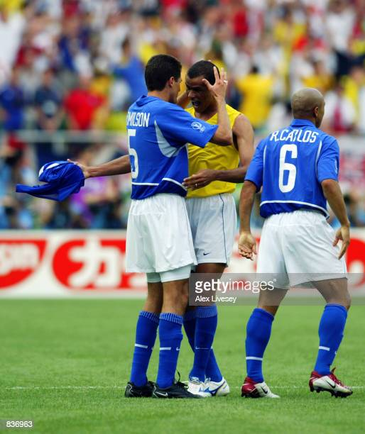 Rivaldo of Brazil celebrates with teammate Edmilson after scoring the equalising goal during the FIFA World Cup Finals 2002 Quarter Finals match...