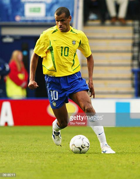 Rivaldo of Brazil running with the ball during the International friendly match between Brazil and Jamaica on October 12 2003 at The Walkers Stadium...
