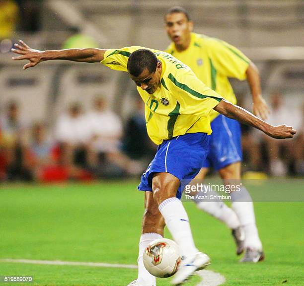 Rivaldo of Brazil score his team's first goal during the FIFA World Cup Korea/Japan round of 16 match between Brazil and Belgium at the Kobe Wing...