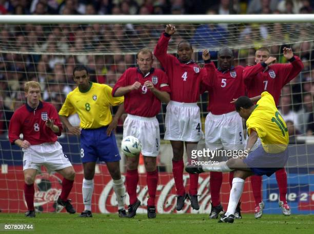 Rivaldo of Brazil trying to find a way past the England wall at a free kick during the International Friendly match between England and Brazil at...