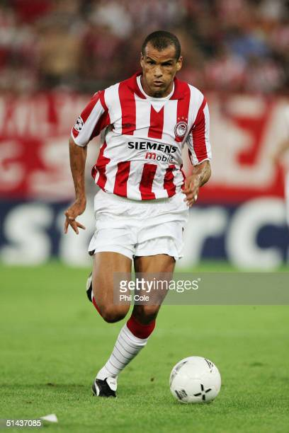 Rivaldo of Olympiakos runs with the ball during the Champions League Group A match between Olympiakos and Liverpool at Karaiskaki Stadium on August...