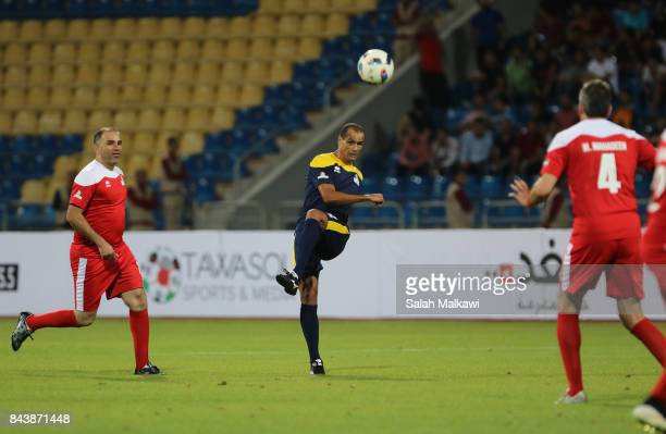 Rivaldo shoots the ball during the friendly football match between World Stars and Jordan Stars on September 7 2017 in Amman Jordan
