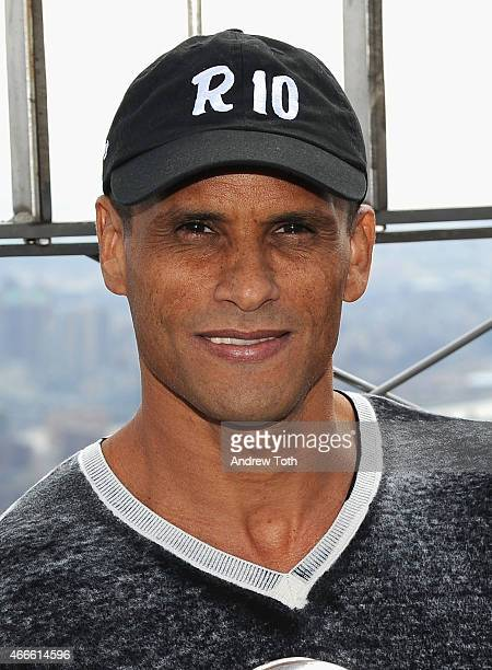 Rivaldo Vitor Borba Ferreire visits The Empire State Building at The Empire State Building on March 17 2015 in New York City
