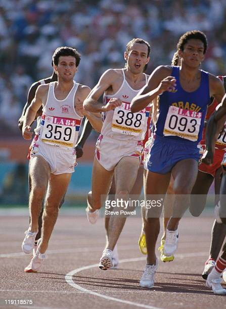 Rivals Sebastian Seb Coe and Steve Ovett of Great Britain give chase to Joaquim Cruz of Brazil during the final of the Men's 800 metres event at the...