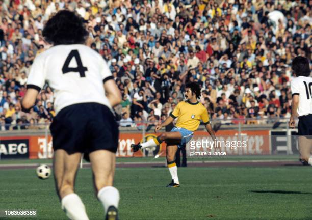 Rivelino of Brazil plays the ball during the match against Germany in Berlin on 16 JUne 1973 | usage worldwide