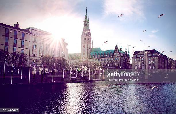 River Against Hamburg Town Hall
