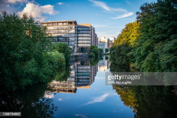 river aire in leeds - leeds stock pictures, royalty-free photos & images