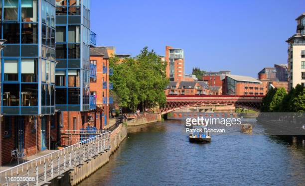 river aire, leeds, yorkshire, england - leeds stock pictures, royalty-free photos & images