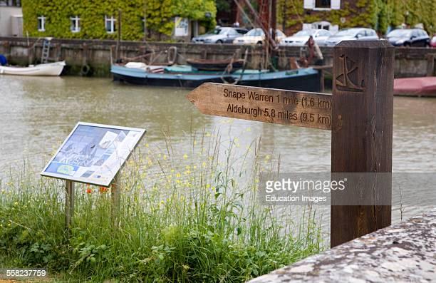 River Alde Sailor's Walk footpath sign at Snape Maltings Suffolk England