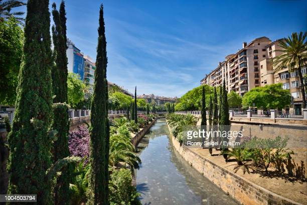river amidst trees and buildings against sky - palma majorca stock pictures, royalty-free photos & images