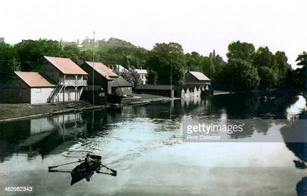 River and boathouse BurtonuponTrent 1926 From the River Valleys set of handcoloured cigarette cards issued with Army Club Cigarettes Cavanders Ltd...