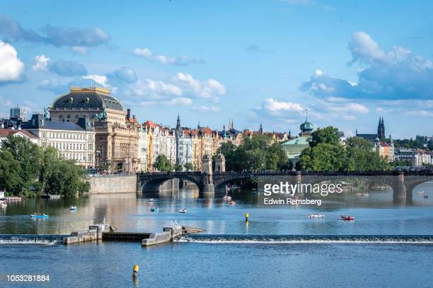 river and boats - charles bridge stock pictures, royalty-free photos & images