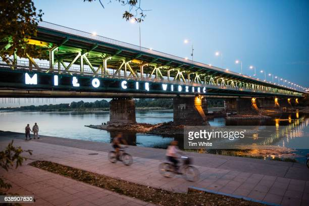 river and bridge, warsaw, poland - warsaw stock pictures, royalty-free photos & images