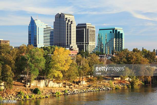 river and buildings at sacramento, california - sacramento stock pictures, royalty-free photos & images