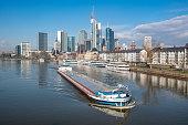 downtown boat traffic river main frankfurt