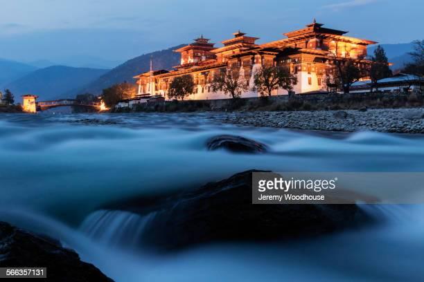 River and illuminated buildings, Punakha, Punakha District, Bhutan