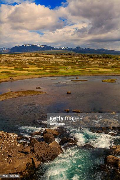 a river and þingvallavatn lake in þingvellir national park, iceland - plate tectonics stock photos and pictures