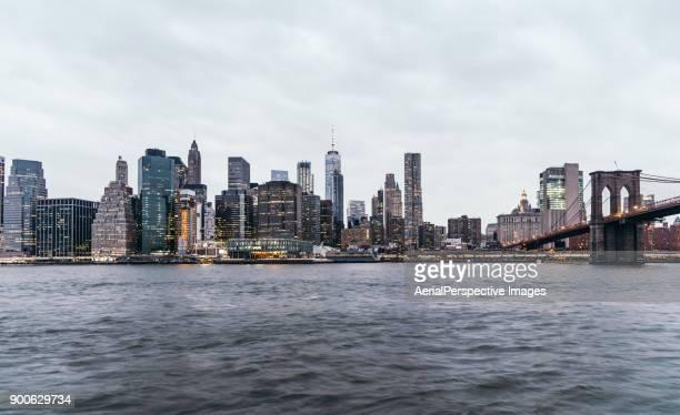 River and Manhattan skyline, New York, USA