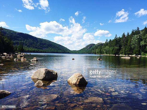 river and mountain against sky - maine stock pictures, royalty-free photos & images