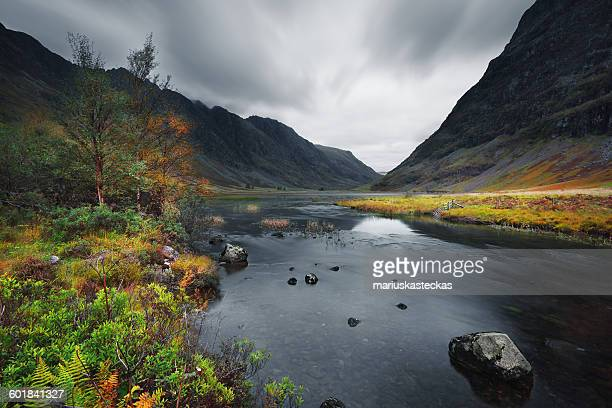 River and mountain landscape, Ballachulish, Glencoe, Scotland, UK